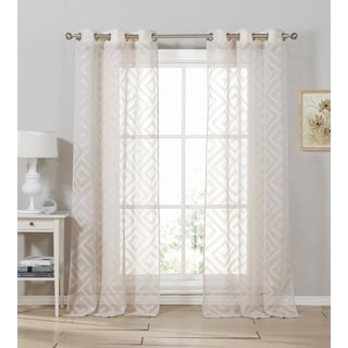 Duck River Calleigh Jacquard Polyester Burnout Grommet Curtain Panel Pair