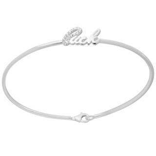 Sterling Silver Cubic Zirconia Luck Bangle Bracelet