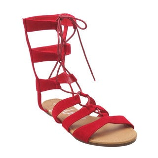 Blue Women's Soudal Red/Silver Faux Leather Gladiator Sandals