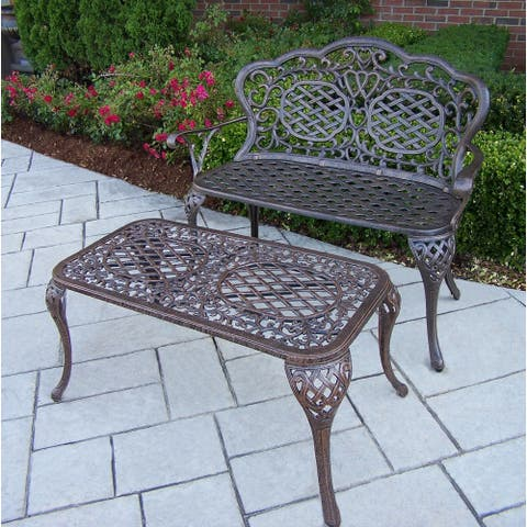 Cast Aluminum Water Resistant Loveseat Bench and Cocktail Table Set