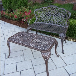 Explorer Black, Brown, Gold Cast Aluminum, Steel, Polyester Water Resistant Loveseat Bench and Cocktail Table Set