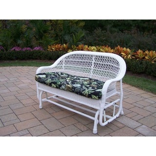 Oakland Living Catalina Black Floral Wicker Glider