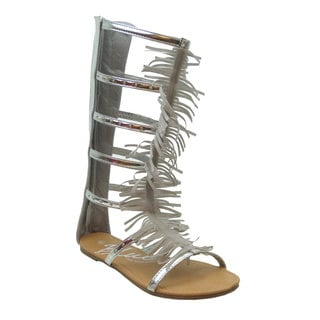 Women's MARIA Solid-colored Fringed Gladiator Sandals
