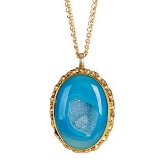 Aqua Blue Druzy Pendant