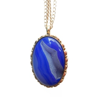Gold-over-silver Royal Blue Druzy Pendant