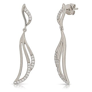 Kabella Sterling Silver with White Cubic Zirconia Angel Wings Earrings