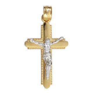 14k Gold Yellow & White Cross Pendant