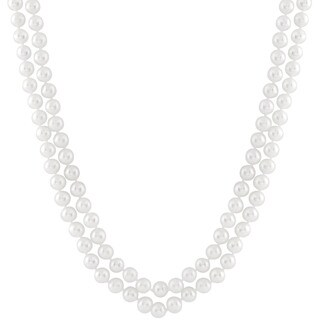 White Sterling Silver White Pearl Double Necklace
