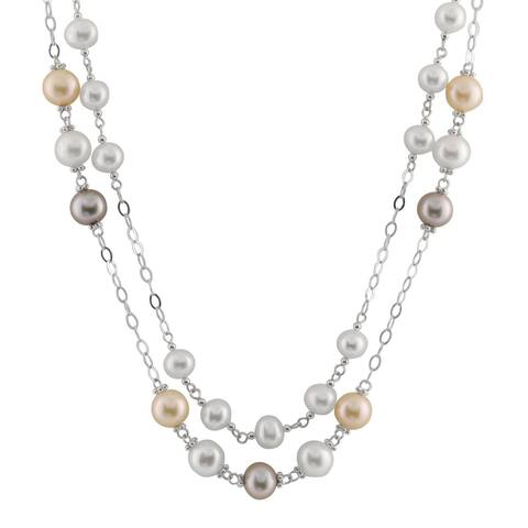White Sterling Silver Multicolor Pearl Double Row Tin Cup Necklace