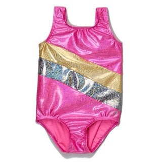 Girl Power Sport Metallic Pink Nylon Leotard