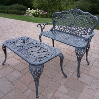 Explorer Cast Aluminum Loveseat Settee Bench and Cocktail Table Set