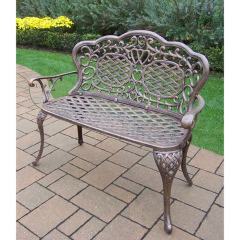 Cast Aluminum and Steel Water Resistant Loveseat Settee Bench