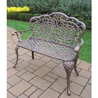Explorer Black, Brown, Gold Cast Aluminum, Polyester, Steel Water Resistant Loveseat Settee Bench