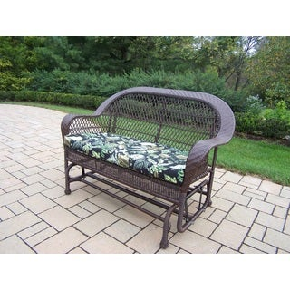 Catalina Brown Wicker Glider with Black Floral Cushion