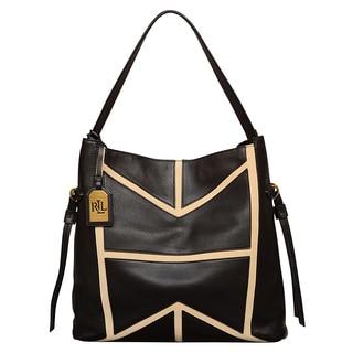Ralph Lauren Shiprock Leather Black/ Stone Hobo Handbag