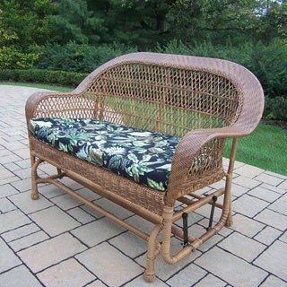 Oakland Living Corporation Catalina Tan Resin Wicker/Aluminum Glider with Black Floral Cushion