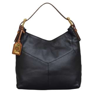 Ralph Lauren Landrey Zip Top Black Hobo Handbag