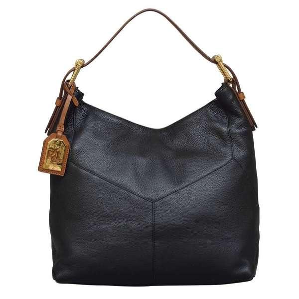 Shop Ralph Lauren Landrey Zip Top Black Hobo Handbag - Free Shipping ... ab065bdb2a