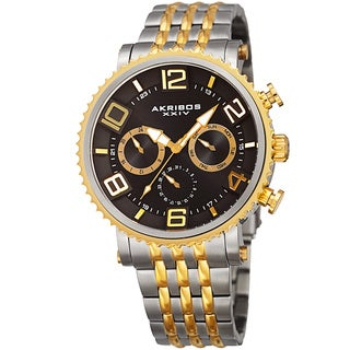 Akribos XXIV Men's Quartz Multifunction Stainless Steel Two-Tone Bracelet Watch with FREE GIFT|https://ak1.ostkcdn.com/images/products/11928594/P18818100.jpg?_ostk_perf_=percv&impolicy=medium
