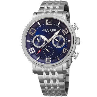 Akribos XXIV Men's Quartz Multifunction Stainless Steel Silver-Tone Bracelet Watch