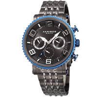 Akribos XXIV Men's Quartz Multifunction Stainless Steel Gun Bracelet Watch