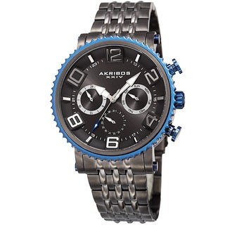Akribos XXIV Men's Quartz Multifunction Stainless Steel Gun Bracelet Watch