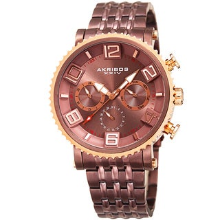 Akribos XXIV Men's Quartz Multifunction Stainless Steel Brown Bracelet Watch