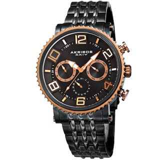 Akribos XXIV Men's Quartz Multifunction Stainless Steel Black Bracelet Watch with FREE GIFT|https://ak1.ostkcdn.com/images/products/11928602/P18818099.jpg?impolicy=medium