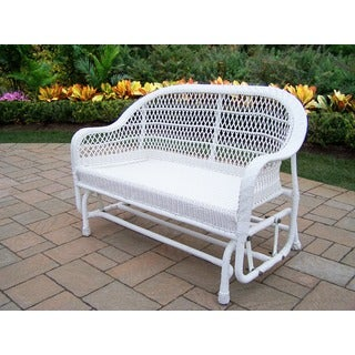 Catalina White Resin Wicker All-weather Glider