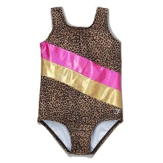 Girl Power Sport Brown Nylon Leopard Leotard