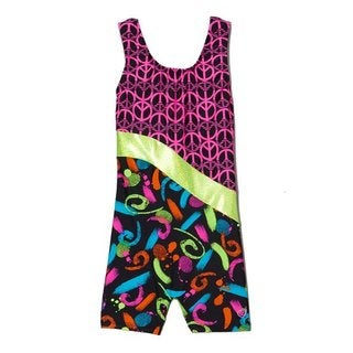 Girl Power Sport 'Peace-time' Black and Multi-colored Biketard