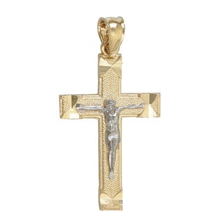 Two-tone 14K Gold Diamond-cut Cross Pendant