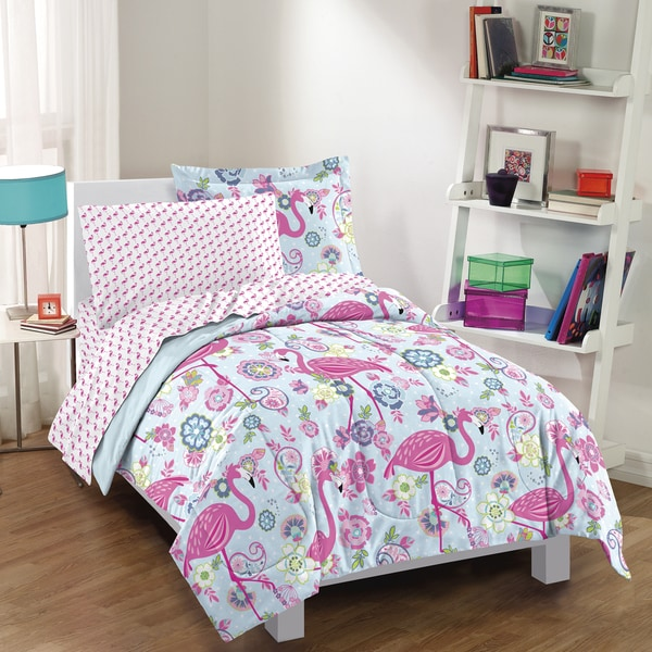 Dream Factory Flamingo 7 Piece Bed In A Bag With Sheet Set