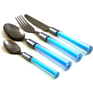 Nature Home Decor Stainless Steel Flatware Set With Light Blue Handles (Case of 24)