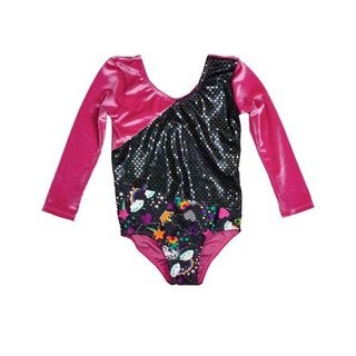 Girl Power Sport Unicorn Pink 3/4 Sleeve Stetch Velvet Leotard