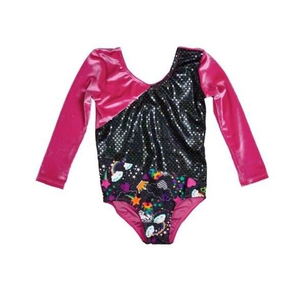 24b6242e07b7 Shop Girl Power Sport Unicorn Pink 3 4 Sleeve Stetch Velvet Leotard ...