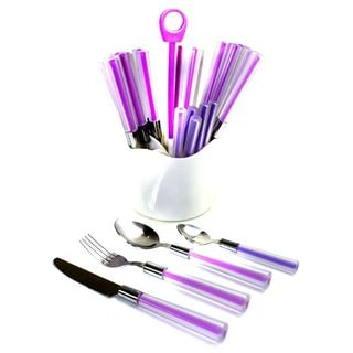 Nature Home Decor Rainbow Elite Collection Purple Handle Stainless Steel 24-piece Flatware Set