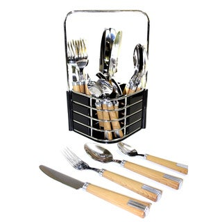 Nature Home Decor Rainbow Elite Collection Stainless Steel 24-piece Flatware Set With Light Wood Handles