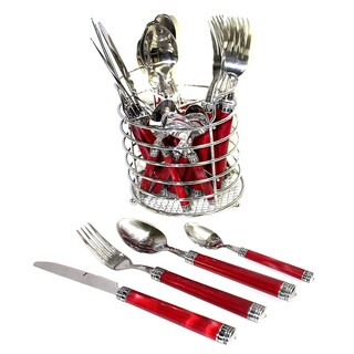 Nature Home Decor Rainbow Elite Collection Red Marble 24-Piece Flatware Set