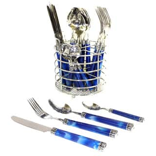 Nature Home Decor Rainbow Elite Collection Stainless Steel Flatware Set With Blue Marble Design Handles (Case of 24)|https://ak1.ostkcdn.com/images/products/11928957/P18818455.jpg?impolicy=medium