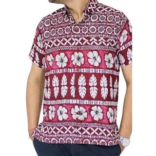 La Leela Likre Hawaiian Red Hibiscus Floral Casual Beach Camp Button-down Shirt