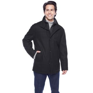 London Fog Men's Stand Collar Button Front Stand Collar Car Coat with Inner Contrast Color Bibby|https://ak1.ostkcdn.com/images/products/11928996/P18818374.jpg?impolicy=medium