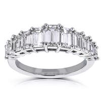 Annello by Kobelli Platinum 2 1/2ct TDW Emerald-cut Certified Graduated Diamond Wedding Ring