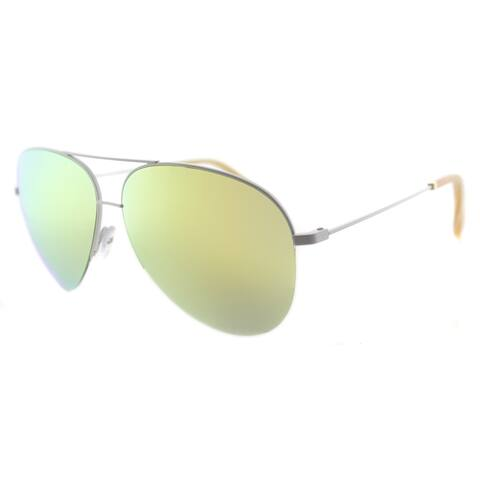 Victoria Beckham VBS 90 C06 Classic Victoria White Metal Aviator Dune Mirror Zeiss Lens Sunglasses
