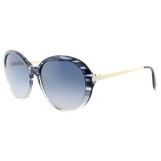Victoria Beckham VBS 112 C09 Fine Oval Acetate Blue Scale Plastic Cat-Eye Blue Gradient Zeiss Lens Sunglasses