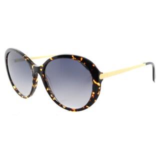 Victoria Beckham VBS 112 C06 Fine Oval Acetate Amber Totoise Shell Plastic Cat-Eye Blue Gradient Zeiss Lens Sunglasses