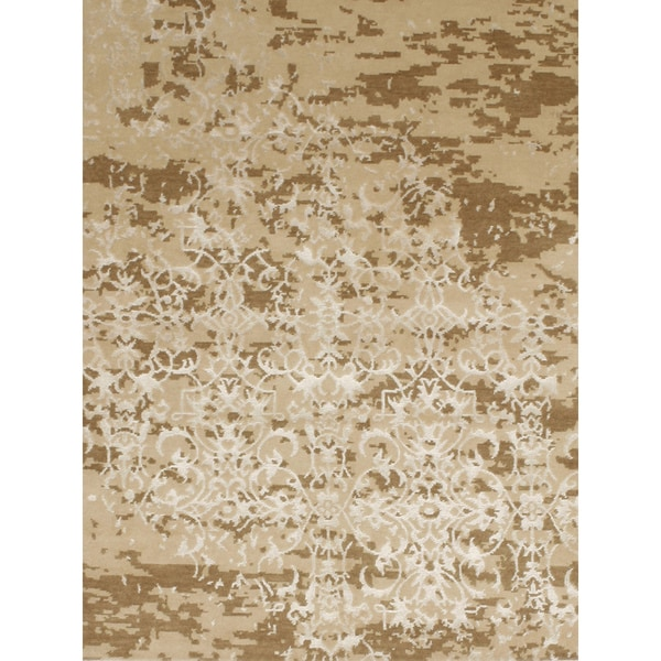 Handmade Contemporary Design Wool & Viscose from Bamboo Area Rug - 4' x 6'