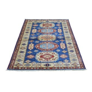 Hand-knotted Denim Blue Super Kazak Pure Wool Rug (3'4 x 4'7)