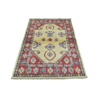 Beige/Blue/Teal/Peach/Gold/Brown/Red Wool Tribal Design Hand-knotted Rug