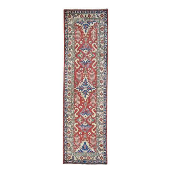 Kazak Red Pure Wool Hand-knotted Geometric Runner Rug (3' x 10'3)